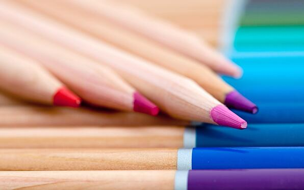 Close up of color pencils organized in a box-1